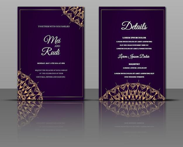 Cartão de convite dourado elegante para mandala de casamento