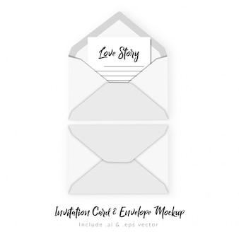 Cartão de convite e maquete de envelope
