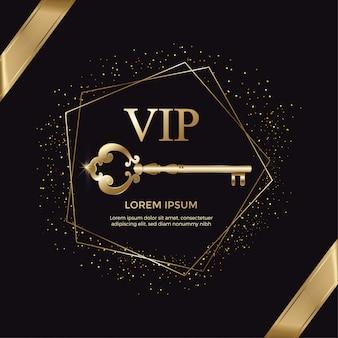 Cartão de convite elegante chave ouro vip