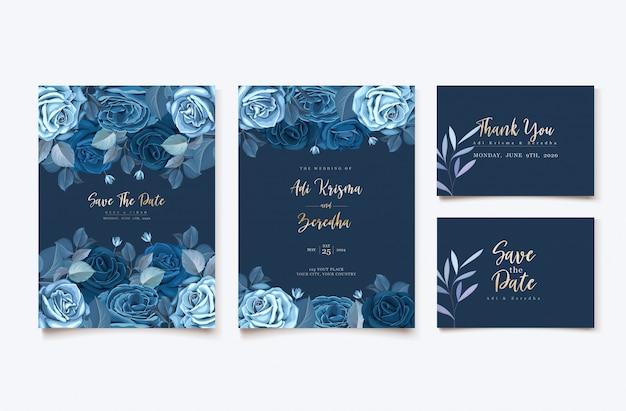 Cartão de convite elegante com modelo floral azul clássico