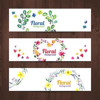 Cartão de convite em aquarela com bouquet floral. conjunto de banners vetoriais