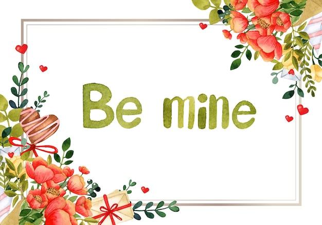 Cartão de convite em aquarela com moldura romântica para dia dos namorados