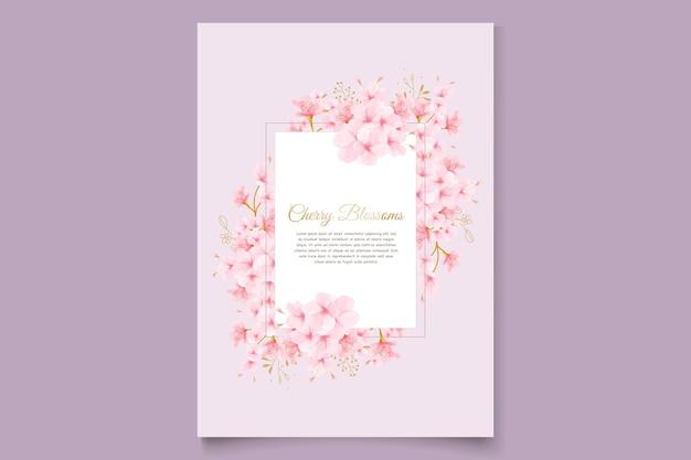 Cartão de convite em aquarela de flor de cerejeira