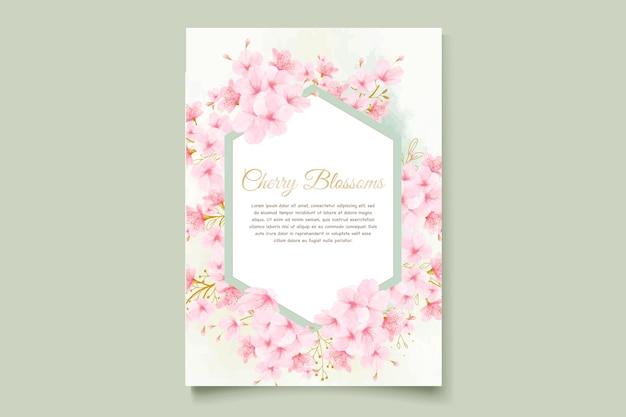 Cartão de convite em aquarela de flor de cerejeira Vetor Premium