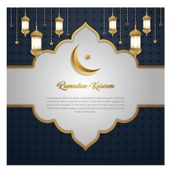 Cartão de convite exclusivo de ramadan kareem luxo
