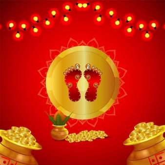 Cartão de convite feliz dhanteras com pote de moedas de ouro