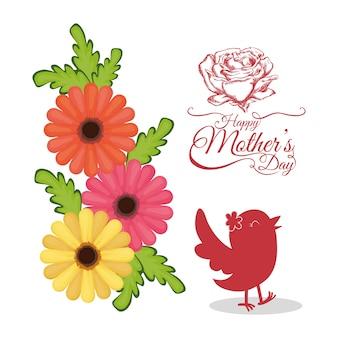Cartão de convite feliz dia das mães com flores de pássaro