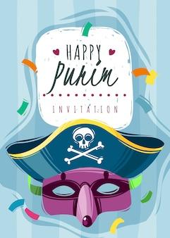 Cartão de convite feliz purim com máscara e chapéu de pirata