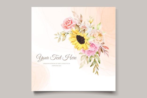 Cartão de convite floral aquarela desenhado à mão elegante