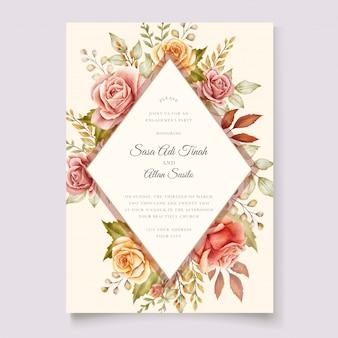 Cartão de convite floral aquarela outono