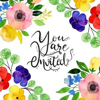 Cartão de convite floral aquarela