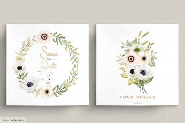 Cartão de convite floral de anêmona papoula aquarela