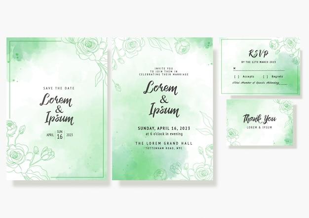 Cartão de convite floral de casamento salvar a data modelo decorativo rsvp em aquarela