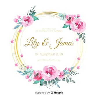 Cartão de convite floral de casamento