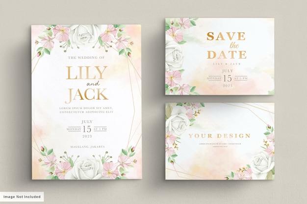 Cartão de convite floral desenhado à mão