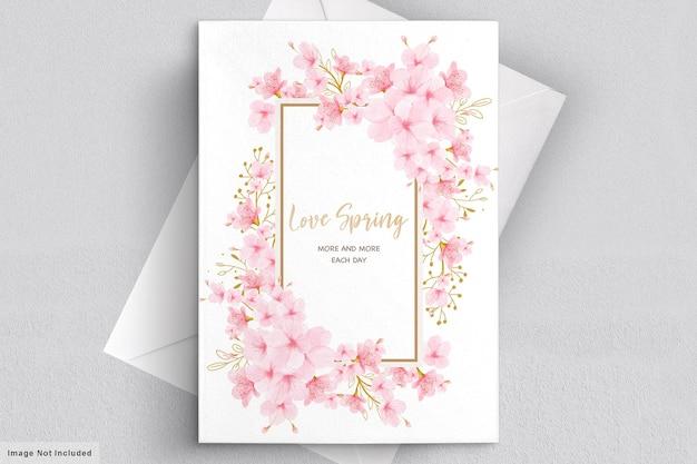 Cartão de convite floral em aquarela de flor de cerejeira