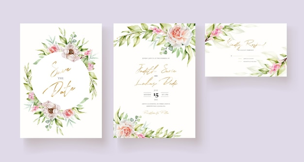 Cartão de convite floral em aquarela desenhado à mão