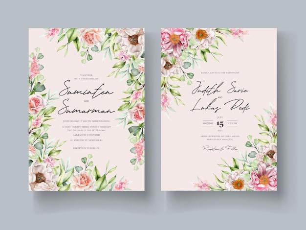 Cartão de convite floral em aquarela desenhado à mão Vetor grátis