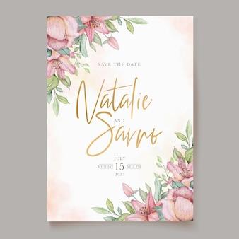 Cartão de convite floral em aquarela em flor