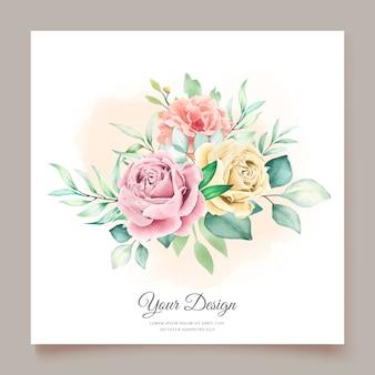 Cartão de convite floral em aquarela