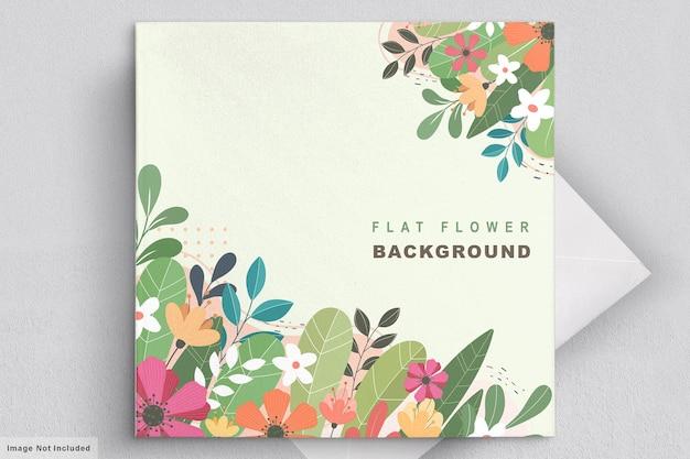 Cartão de convite floral plano abstrato