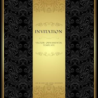 Cartão de convite ornamental preto e dourado