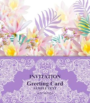 Cartão de convite ou cartão com flores de lírio de água e rendas ilustrações de fundo do vetor