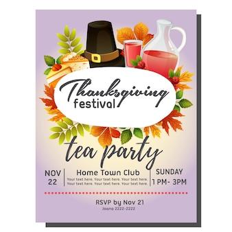 Cartão de convite outono chá com bolo de xarope e chapéu
