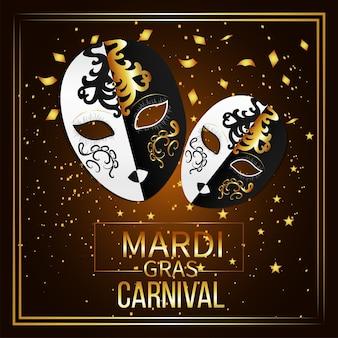 Cartão de convite para festa de carnaval com máscara dourada