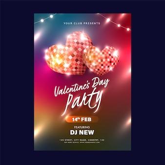 Cartão de convite para festa de dia dos namorados, design de folheto com bolas de discoteca em formato de coração em 3d