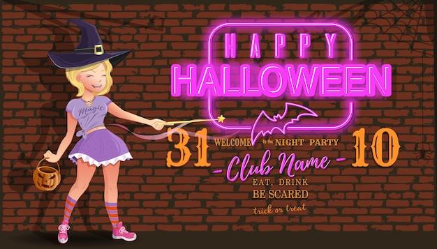 Cartão de convite para festa de noite de halloween com uma linda garota em uma fantasia de bruxa de carnaval e sinal de néon
