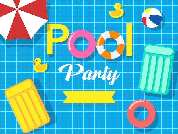 Cartão de convite para festa de piscina