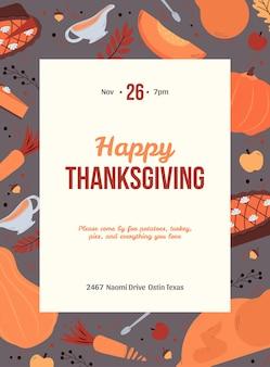 Cartão de convite para jantar de feriado de ação de graças