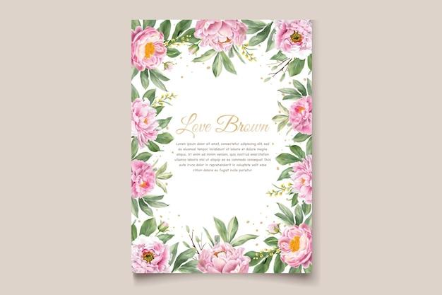 Cartão de convite peônias aquarela