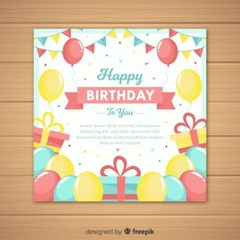 Cartão de convite plana feliz aniversário