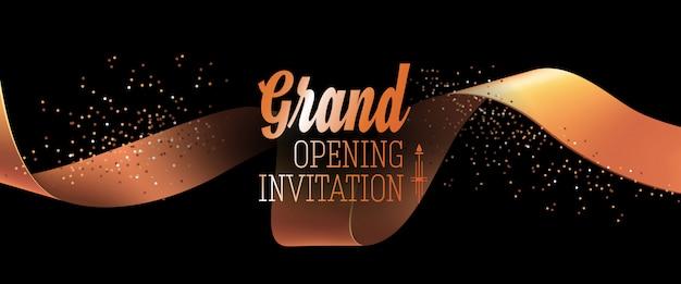 Cartão de convite preto de inauguração com fita de ouro