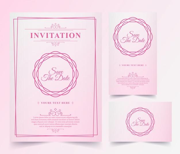 Cartão de convite rosa vintage de luxo