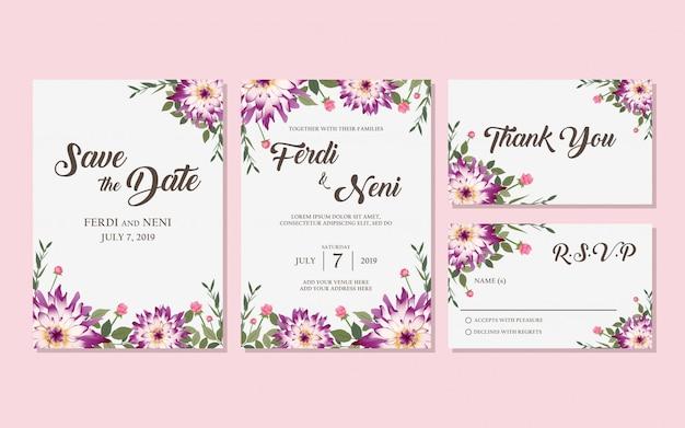 Cartão de convite roxo de casamento