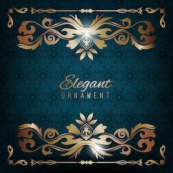 Cartão de convite vintage. fundo de luxo azul com quadro dourado. modelo para design