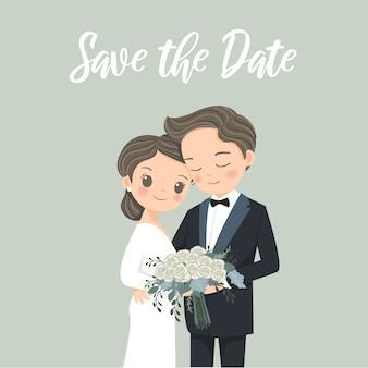 Cartão de convites de casamento com desenhos animados de noiva e noivo de casal fofo