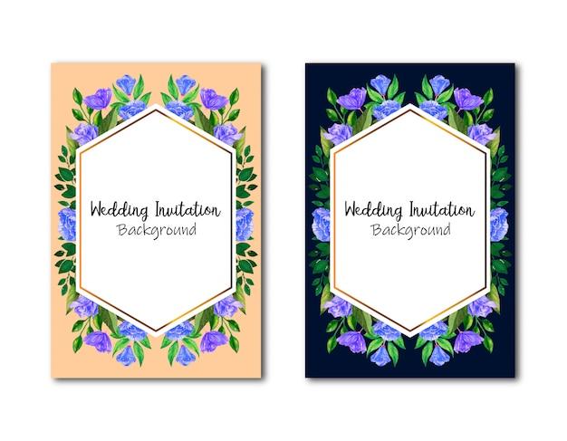 Cartão de convites de casamento geométrico com rosas vermelhas