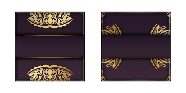 Cartão de cor borgonha com padrão de ouro abstrato para seu projeto.