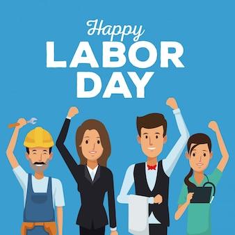 Cartão de cores do feliz dia do trabalho com pessoas de diferentes profissões