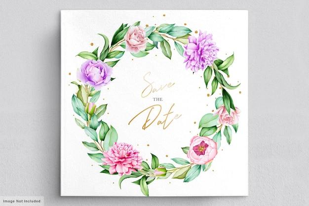 Cartão de coroa de peônias aquarela
