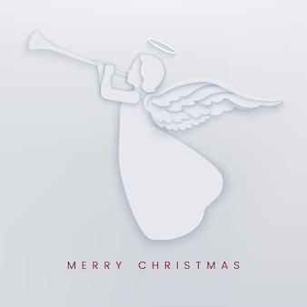 Cartão de corte de papel feliz natal com anjo branco