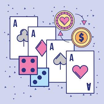 Cartão de craque aces do casino e moeda da microplaqueta