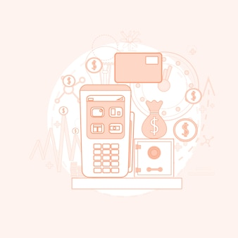 Cartão de crédito bancário nfc terminal checkout