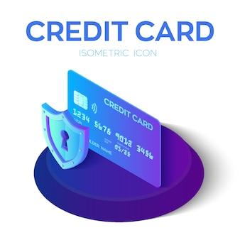 Cartão de crédito. cartão de crédito de proteção. 3d isométrico.