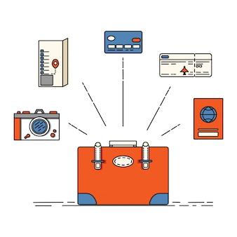 Cartão de crédito, cartão de embarque, bilhete de avião. bagagem de viajante