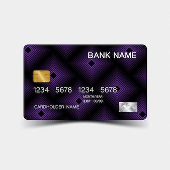 Cartão de crédito. com desenho de elementos roxos.